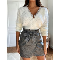 Womens Winter Knitted Cardigan Casual Sweater Button Coat Blouse White L