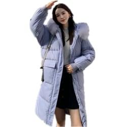 Womens Winter Warm Fur Hooded Down Puffer Parka Long Coats Loose Purple L