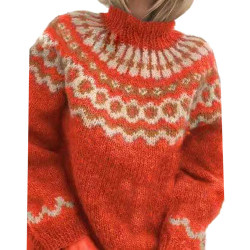 Womens Winter Warmer Sweater Casual Knitted Fit Jumper Pullover Red XL