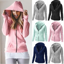 Womens Zip Up Hoodie Sweatshirt Long Sleeve Sports Hooded Coat Grey XL