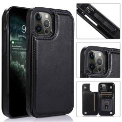 iPhone 12 Pro Max - Skyddande Skal med Korthållare Svart