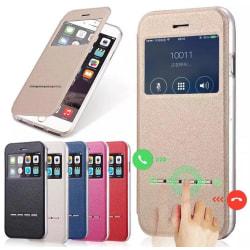 iPhone 5/5S/5SE  Smartfodral med fönster och svarsfunktion Röd