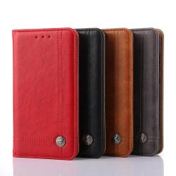 LEMAN Stilrent Plånboksfodral för Huawei P20 Röd