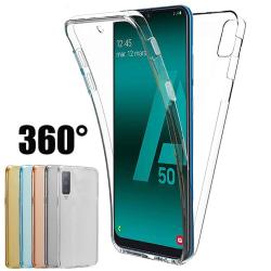 Samsung A50   360° TPU Silikonfodral   Heltäckande Skydd Transparent/Genomskinlig
