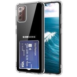Samsung Galaxy Note 20 - Silikonskal med Korthållare Transparent/Genomskinlig