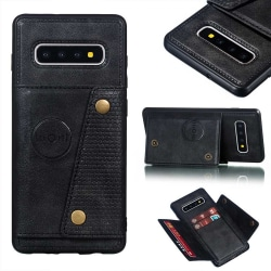 Samsung Galaxy S10 Plus - Praktiskt Skal med Kortfack Svart