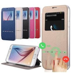 Samsung Galaxy S5 Smartfodral med Fönster och Svarsfunktion Röd