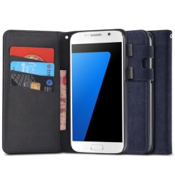 Samsung Galaxy S6 Edge - Praktiskt Plånboksfodral i lent läder Svart