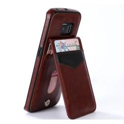 Samsung S6 Edge - LEMAN Läderskal med plånbok/Kortfack Svart