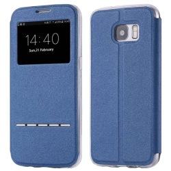 Samsung S8+ Smartfodral med fönster och svarsfunktion Blå