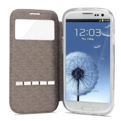Smartfodral med fönster och svarsfunktion till Galaxy S3 Röd