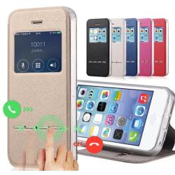 Smartfodral med Fönster & Svarsfunktion för iPhone 6/6S Rosa