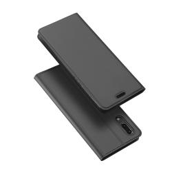 Stilrent Exklusivt Fodral med Kortfack av DUX DUCIS - Huawei P20 Gråsvart