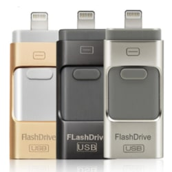 USB/Lightning Minne - Flash (Spara ner allt från telefonen!) Guld
