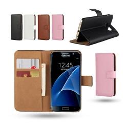 Fodral Äkta Läder / Plånbok - Samsung Galaxy S7 Svart