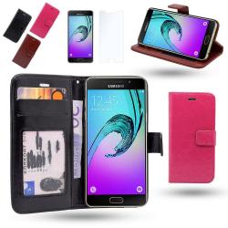 Fodral / Plånbok i Läder - Samsung Galaxy A3 2016+Skärmskydd Rosa