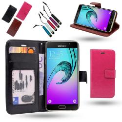 Fodral / Plånbok i Läder - Samsung Galaxy A3 2016+Touchpenna Rosa
