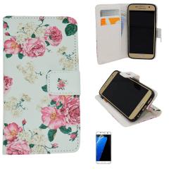 Fodral / Plånbok i Läder - Samsung Galaxy S6 + Skärmskydd