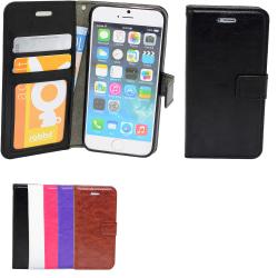 iPhone 5/5s/SE2016 - Plånboksfodral i läder med ID ficka Svart