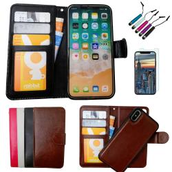 iPhone X/Xs - Plånboksfodral / Magnet Skal + 3 i 1 Paket Svart