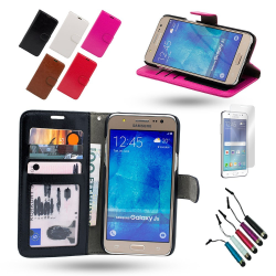 Läderfodral / Plånbok - Samsung Galaxy J5 2016 + 3 i 1 Paket Svart