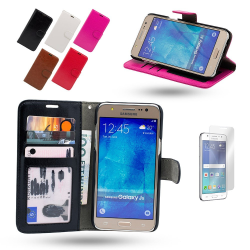 Läderfodral / Plånbok - Samsung Galaxy J5 2016 + Skärmskydd Svart