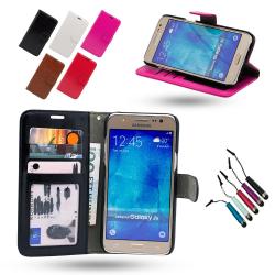 Läderfodral / Plånbok - Samsung Galaxy J5 2016 + Touchpenna Vit