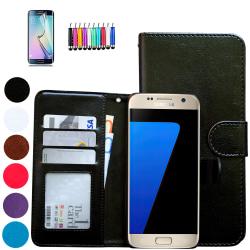 Läderfodral / Plånbok - Samsung Galaxy S7 + 3 i 1 Paket Brun