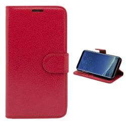 Läderfodral / Plånbok - Samsung Galaxy S8 Röd