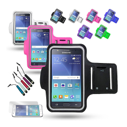 Sportarmband Samsung Galaxy J5 + 3 i 1 Kit Lila