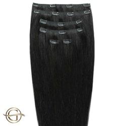 Gold24 Clip-on Hair Extensions #1 Svart 50cm - 7 delar