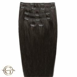 GOLD24 Clip-on Hair Extensions #2 Mörkbrun 50cm - 7 delar