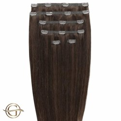 GOLD24 Clip-on Hair Extensions #4 Brun 50 cm - 7 delar  50