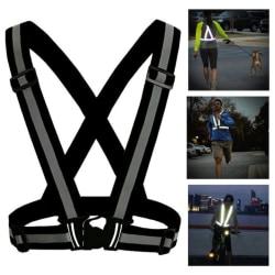 Reflexväst/reflexsele till löpning och cykling - svart Svart one size