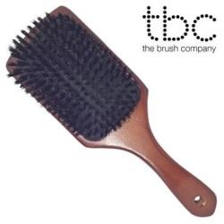 TBC® Boar Bristle Paddle hårborste - Äkta vildsvinshår Brun