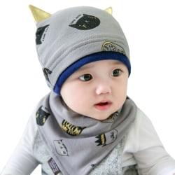 1 Set Baby Hat Scarf Cotton Hat Grey