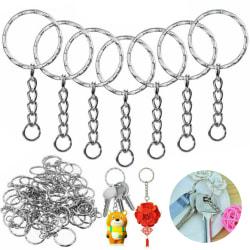 10-100x Silver Keyring Blanks Tone Key Chains Key Split Rings 50 PCS