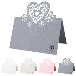 Tabell Namn Placeringskort Kärlek Hjärtan Pärlemorsbröllop Grey