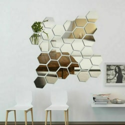 3D Mirror Tiles Mosaic Wall Stickers Self-Adhesive Bedroom 12 pcs