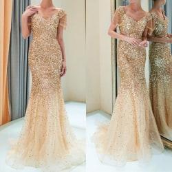 2019 Women Summer Long Dress Vintage Elegant gold S
