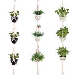 3 lager Macrame växter hängare blommor hållare hängande jute rep