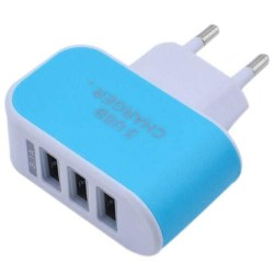3 USB Multi Adapter Travel Wall Charger Blue 5V/1A