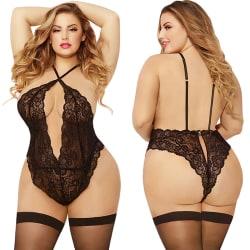 Kvinnor Deep V Lingerie Babydoll Bodysuit Nightwear Plus Size