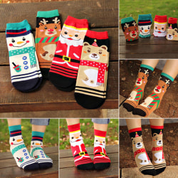 6 Pair Warm Soft Cotton Christmas Socks Set for Christmas Gift Elk 6 Pair