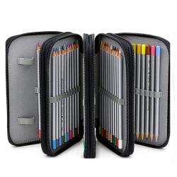 4 Zip Large Capacity Pen Pencil Cases Black