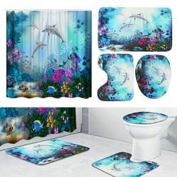 4pcs Bathroom Set Shower Curtain Toilet Seat Cover 4 sets