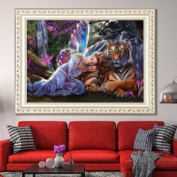 5D DIY Diamond Painting Angel and Tiger Art Decor 40*30 cm