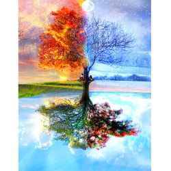 5D Full Drill DIY Diamond Painting Tree Handmade Decor Colourful 40*30cm