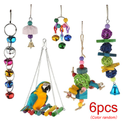 6 Pcs Parrot Toys Metal Rope Ladder Stand Cage Bird Toy Set