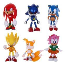 6 Pcs Sonic Classic The Hedgehog PVC Action Figure Model Kids